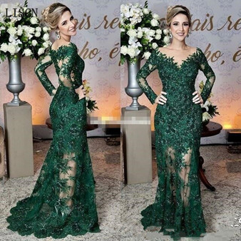QueenLine Sparkly Wedding Party Long Illusion Sleeve Vintage Dark Green Mother of The Bride Dresses Lace Appliques Mermaid Formal Gowns