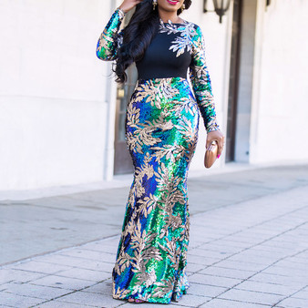 QueenLine Vintage Green Long Sleeve Mermaid Sequins Dress Sparkly Elegant Plus Size Shiny Party Evening African Long Dresses for Women