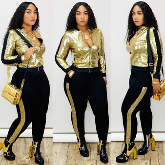QueenLine Autumn Winter Sequin 2 Piece Set Women Tracksuit Long Sleeve Jacket Top Pants Suit Streetwear Sparkly Matching Sets Club Outfits