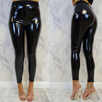 QueenLine  Women Sexy Costume Women PVC Vinyl Leather Liquid Wet Look Shiny Pants Disco Elasticated High Waist Trousers