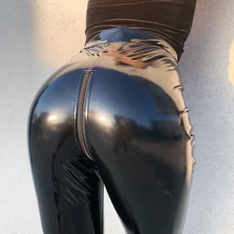 QueenLine  Women High Waist Stretch Pu Leather Pants Open Crotch Leggings Push Up Sexy Wet Look PVC Faux Trousers ZIPPER Back Streetwear