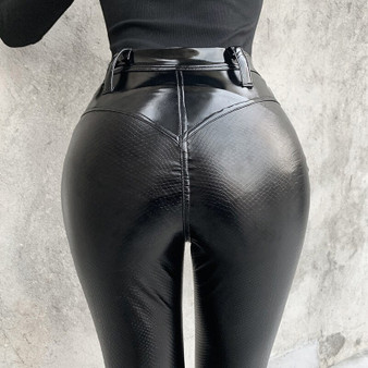 QueenLine  Stretch Pu Leather Pants Capri Women Snake Skin Faux Trousers High Waist Sexy Wet Look Leggings Push Up Night Club Gothic Punk