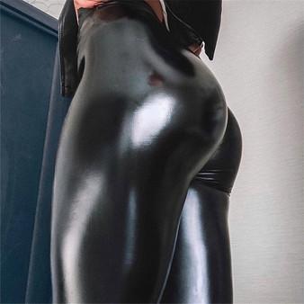 QueenLine  Autumn Faux Pu Leather Pants Women Wet Look Leggings Stretch Trousers High Elastic Waist Plus Size Oversized 5xl 4xl 3xl Winter