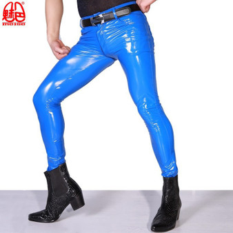 QueenLine  Sexy Men High Elastic Blue PVC Shiny Pencil Pants Tight Faux Leather Zipper Front Fashion Glossy Punk Pencil Pants Wear F123