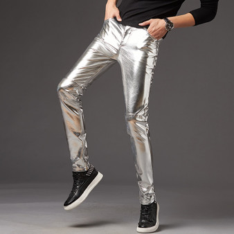 QueenLine   Men Skinny Faux Leather Leisure Pants Black Gold Silver PU Shiny Pants Singers Club Performance On Stage Dancer Clothes