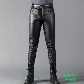 QueenLine Summer Mens Business Slim Fit Stretchy Black Faux Leather Pants Male Elastic Tight Trousers PU Leather Shiny Pencil Pants A71002