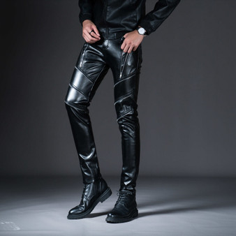 QueenLine  New Winter Spring Men's Skinny Leather Pants Fashion Faux Leather Trousers For Male Trouser Stage Club Wear Biker Pants