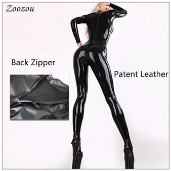 QueenLine Women Sexy Latex PU Leather Exotic Jumpsuits Black Zentai Cat Suit Zip Open Crotch Wet Look Bodysuits Erotic Club Costume Custom
