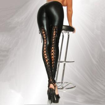 QueenLine Fashion Faux Leather Leggings Women High Waist Push Up Jegging Slim Bandage Ankle Length Sexy Black Leggings Female