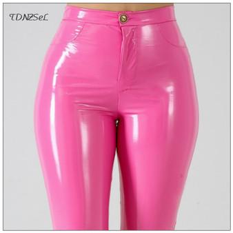 QueenLine  Plus Big Size PU Faux Leather Leggings Large Shiny Skinny Pants Slacks Women High Waist Liquid PVC Latex Patent Pencil Trousers