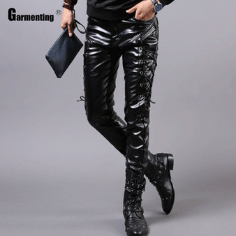 QueenLine Mens Pu Leather Pants Male Fashion Skinny Pants Streetwear Motocycle Black Faux Leather Bottom Lace-up Mens Trousers