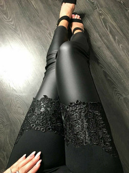 QueenLine  Sexy Women Stretch Slim Fit Pencil Pants High Waist Shiny PU Leather Lace Patchwork Trousers Skinny Vogue Leggings Fashion Club