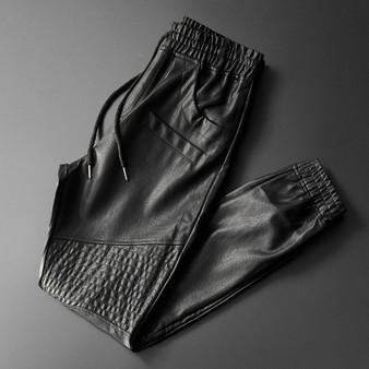 QueenLine Brand Men Leather Pants Superior Quality Elastic Waist Jogger Pants Motorcycle Pocket Faux Leather Trousers Harem Pants