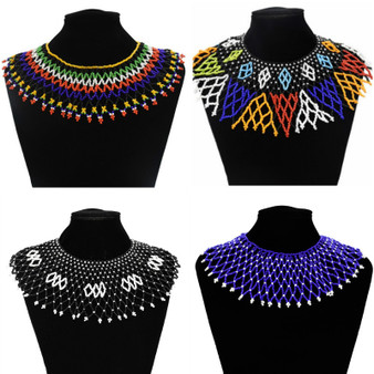 QueenLine  Multicolor South African Resin Beaded Necklace Bib Statement India Zulu Ethnic Tribal Egyptian Jewelry For Women Wedding Gifts
