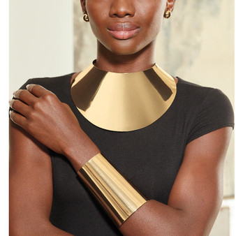 QueenLine  African Big Chokers Necklaces for Women Statement Metal Geometric Collar Necklace Bracelet Indian Party Jewelry Sets