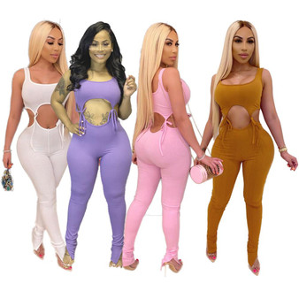 QueenLine Bandage Fitness Women Jumpsuits Rompers Sleeveless Hollow Out Lace Up O-Neck Sexy Night Club Party Bandage One Piece Outfits