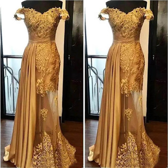 QueenLine New Backless Formal Dresses Evening Gold Illusion Off-Shoulder Sleeveless Elastic Satin Tulle Prom Party Gown Applique