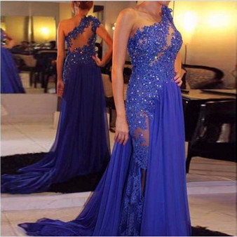 QueenLine  Royal Blue Evening Dresses Floor Length Chiffon See Through One Shoulder Appliqued Lace A-Line Party Gown Plus Size