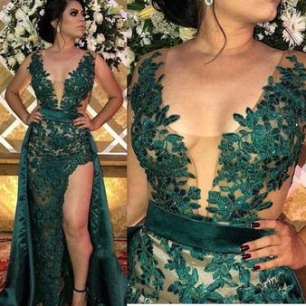 QueenLine  Hunter Green Split Evening Dresses With Detachable Skirt Sheer Illusion Bodice Appliqued Long Arabic Party Gowns Prom Wear