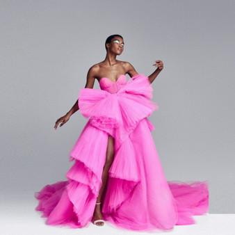 QueenLine  Puffy Off Shoulder Evening Dress Mesh Huge Bow Hot Pink Evening Dresses Tulle Peplum vestido de festa longo abiye