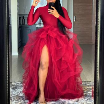 QueenLine  Fashion Skirts Tulle princesa robe de mariee Custom Made Puffy Long Skirt Maxi High Slit Woman Tutu Skirt