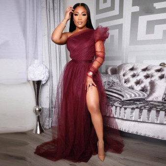 QueenLine  Burgundy Party Gowns Tulle abiye One Shoulder High Slit Evening Dress Sleeve Vestido Longo robe de soiree Evening Dresses