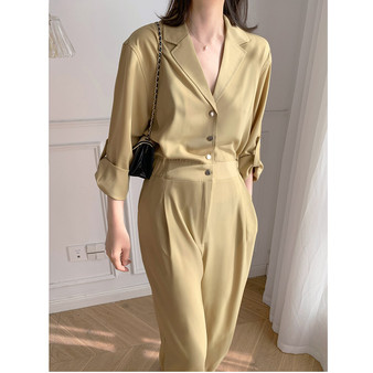 QueenLine  Sexy Jumpsuit Luxury Silk Satin Solid Long Sleeve Pant Romper Playsuits Elegant Outfit Women Chic Runway Clothing Streetwear
