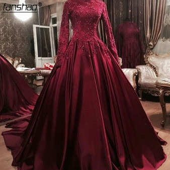 QueenLine  Rosy High Neck Long Sleeves Lace Appliques Beaded Muslim Prom Dress kaftan Women Long Red Evening Dresses