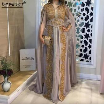 QueenLine  Purple Muslim Evening Dress Chiffon Moroccan Kaftan Gold Lace Half Sleeve Saudi Arabic Special Occasion Party Dress Custom Made