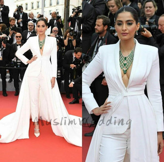 QueenLine  Stylish White Jumpsuit Evening Dress Long Sleeve Deep V Neck Prom Dress With Overskirt Train Pant Suit Red Caprt Celebrity Gown