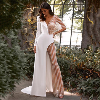 QueenLine  Jumpsuit Wedding Dress Pants Suit Long Sleeves V-Neck Backless Sexy Illusion Sequins Tulle Bride Dress With Pants Outfits Custom