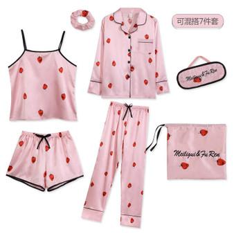 QueenLine  Strawberry Print 7pcs Pajamas Sets Women Sleepwear Silk Satin Pajamas Pyjamas Set Long Sleeve Winter and Summer Full Pajamas Set