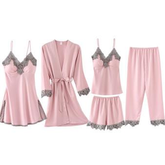 QueenLine  Women Pajamas Set  Summer Autumn Spring Lounge 5 Pieces Sleepwear Set Silk Elegant Shorts Sleeve Top Elastic Waist Pants Set
