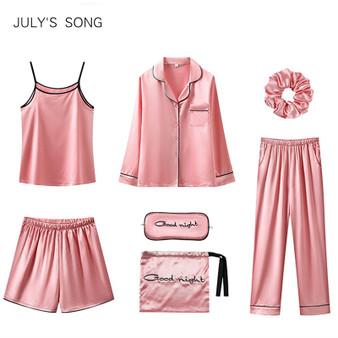 QueenLine 7 Pieces Women Pajamas Set Stain Soft Pyjama Spring Autumn Female Nightwear Solid Faux Silk Shorts Homewear