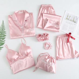 QueenLine  Solid color pajamas silk satin women's Pajamas Set 7 pieces sewing underwear robes pajamas women's pajamas sexy pajamas