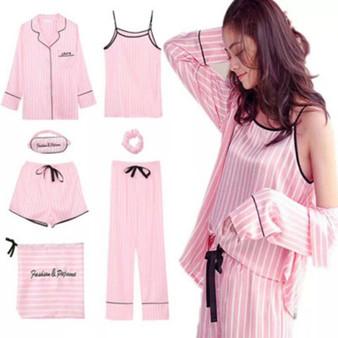 QueenLine  Pink Striped Pajamas Silk Satin Femme Pajama Set 7 Pieces Stitch lingerie Robe pyjamas Women Sleepwear pjs satin pajamas