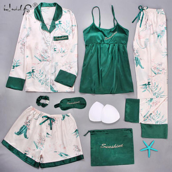 QueenLine  Summer Women's Pajamas Embroidery 7 Pieces Pajamas Sets Stain Faux Silk Pajamas Autumn Women Sleepwear Sets With Bra Pad