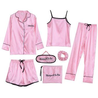 QueenLine  Sleepwear 7 Pieces Pyjama Set  Women Autumn Winter Sexy Pajamas Sets Sleep Suits Soft Sweet Cute Nightwear Gift Home Clothes