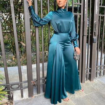 QueenLine  Women Satin Long Sleeve Tunic Jumpsuit Classy Wide Leg Overalls Elegant Evening Party Jumpsuit OL Workwear 2021
