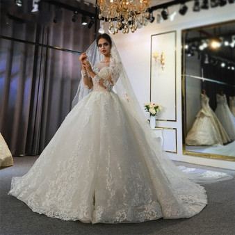 QueenLine Robe Mariage Femme 2022 Full Lace Wedding Dress Wedding Gowns For Bride