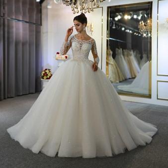 QueenLine  vestidos de novias lace dress elegant new wedding dress beautiful real work same as on photo
