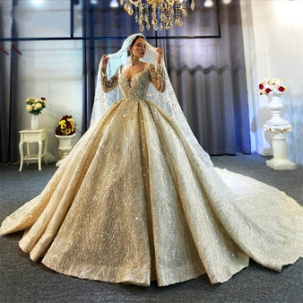 QueenLine 2021 Hot sale full beading wedding dress with long sleeves bridal dress real work high quality
