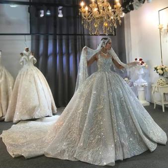 QueenLine Dubai Luxury Heavy Beading Wedding Dress Sparkling Bridal Dress 2022 Amanda Novias Brand Real Work