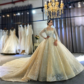 QueenLine Real Photos Big Ball Gown Wedding Dresses 2021 real work Lace Wedding Dresses Mariage Bridal Gowns