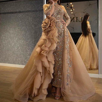 QueenLine Luxury Mermaid Prom Dresses With Detachable Train High Neck Long Sleeve Evening Gowns Glitz Beaded Pageant Dresses For Girl