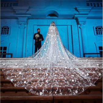 QueenLine Gorgeous 5M Long Cathedral Wedding Veils With 3D Lace Appliques Soft Tulle One Layer Bridal Veil