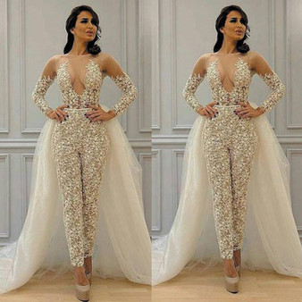QueenLine Modest Detachable Skirt Jumpsuit Wedding Dresses Lace Applique Long Sleeve Elegant Pant Suit for Women Vestidos Bridal Gown