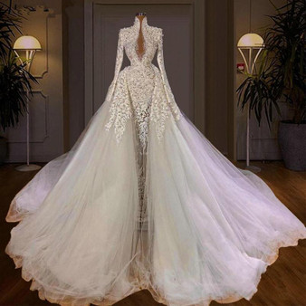 QueenLine Luxury High Neck Mermaid Wedding Dresses With Overskirt Train Long Sleeves Full Lace Heavy Pearls Plus Size Bridal Gowns