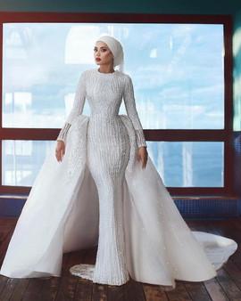 QueenLine Heavy Beaded Mermaid Wedding Dress with Overskirt Muslim Wedding Gown Long Sleeve Bridal Dress 2020