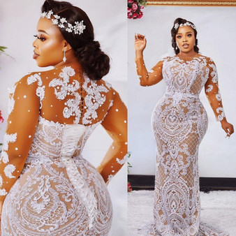 QueenLine france Plus Size Sexy Wedding Dresses casamento Illusion Sleeve Bridal Dress Long Applique robe de mairee 2021